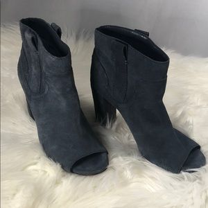 Vince Camuto blue suede peep toe booties size 8